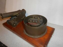 Vintage Ww I Brass And Wood Trench Art Cannon And Ashtray