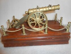 Vintage Brass And Wood Cannon Desk Display