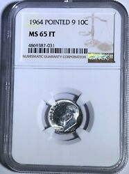 1964 P Ngc Ms65 Ft Silver Roosevelt Dime Pointed 9 10c 90 Silver Full Torch