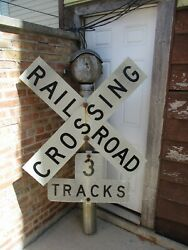 Vintage Railroad Crossing W/ Western Bell And 3-tracks Sign And Pole 74