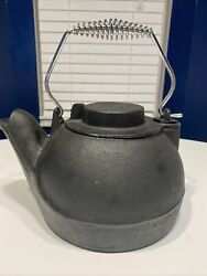 Vintage Cast Iron Black Belly Tea Pot/kettle/humidifier/stovetopxl And Solid