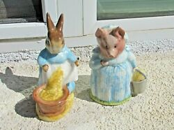 Pair Of Beswick England Beatrix Potter Figurines Aunt Pettitoes And Cecily Parsley