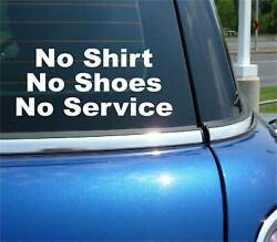 No Short No Shoes No Service Decal Sticker Business Store Door Window Policy