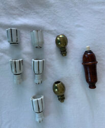 Antique 1920s Turned Wood Servant Switch Light Puch Button Lot Parts Lamp