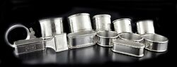 Lot 13 Antique Art Nouveau Sterling Silver Hand Chased Napkin Rings 289.8 Grams