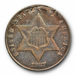 1867 3cs Three Cent Silver About Uncirculated A.u Details Key Date Rare Us Coin