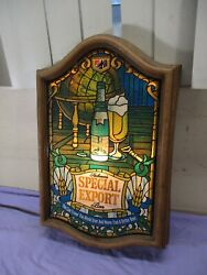 Vtg Heileman's Special Export Beer Faux Stained Glass Bar Sign Light Man Cave