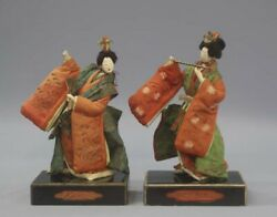 Edo Period Costume Doll Pair 2 Total Height 30cm Costume Doll Takeda Doll