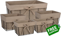 Dii Farmhouse Chicken Wire Storage Baskets With Liner, Set Of 5, Vintage Taupe,