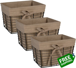 Dii Farmhouse Chicken Wire Storage Baskets With Liner, Small, Vintage Taupe, 9x7