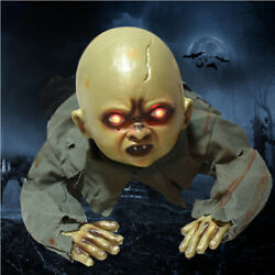 Animated Crawling Baby Zombie Prop Halloween Party Decor Light Up Talking 2021