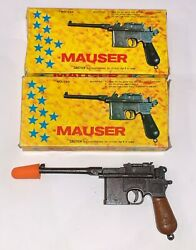 Rare Vintage 4 1/2 Mauser Military Cap Gun With Box Lot Of 2 1/3 Scale Nos