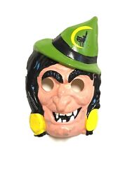 Vtg Ben Cooper Rare Halloween Plastic Mask 1960s Classic Witch Green Hat Hag Old