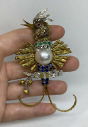 Vintage 14k Gold Made Pearl Bird Brooch W/ Ruby/emerald/sapphire And Diamond