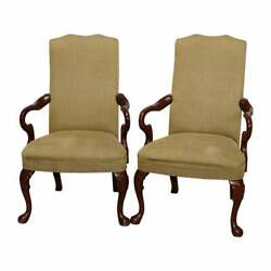Antique Pair Of Queen Anne Style Mahogany Fireside Armchairs 20th Century