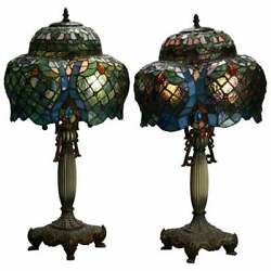 Antique Pair Art Nouveau Leaded Glass Pagoda Shaped Style Lamps, 20th C