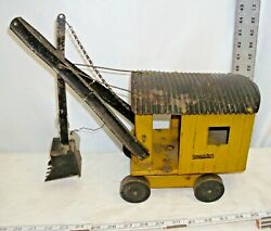 Structo Panama Digger Steam Shovel Crane Pressed Steel Toy 1930s In Yellow
