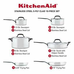 Kitchenaid 5-ply Clad Stainless Steel Cookware Pots And Pans Set 10 Piece