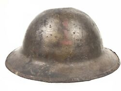 Original Ww1 1st Id Painted Doughboy Helmet Infantry Division Wwi