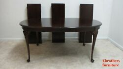 Stickley Mahogany Chippendale Queen Ann Dining Room Conference Table