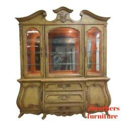 Century Paint Distressed Bombay French Carved Old World China Cabinet Hutch