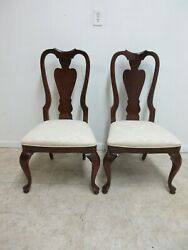Pair Stanley Solid Cherry Queen Ann Dining Room Side Chairs B