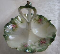 Rs Prussia Center Handle Serving Dish Tidbit Tray Antique Hand Painted Porcelain