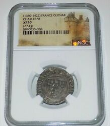 Ngc France 1380-1422 French Guenar Charles Vi Xf40 Xf40 Medieval Graded Coin