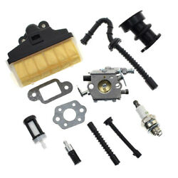 Carburetor W/ Air Filter Fuel Line Repower Kit For Stihl Ms210 Ms250 021-025