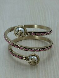 Authentic Bangle Pewter And Pink Leather Chain Wrap Arm Vintage W1005006441