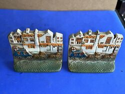 Vintage Pair Of Horse Drawn Carriage Bookends Enameled Brass Iron 2lbs Each