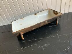 Rare Antique 1800s Cast Iron Porcilian Footed Bread Pan 3b