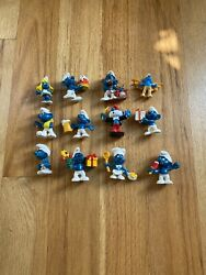 Lot Of 15 Vintage Smurfs Peyo Schleich 1980and039s Collectible Figures