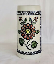 Vintage One Of A Kind Colorful Hand Painted Blue Delft Budweiser Cs11 Var Stein