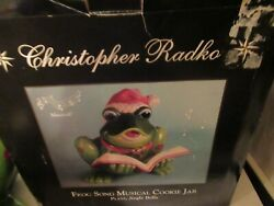 Christopher Radko Frog Song Musical Cookie Jar Box Never Displayed Holiday Rare