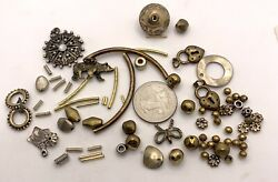 Mixed Lot Bronze/sterling Silver/gold Spacers Pendants Pendant 82 Pieces Total