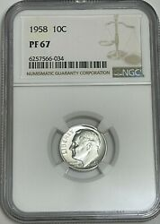 1958 Ngc Pf67 90 Silver Roosevelt Dime 10c Great Eye Appeal Uncirculated