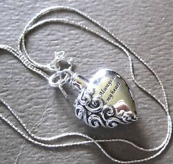 Always In My Heart Cremation Urn Necklace For Ashes All 925 Sterling Silver