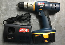 Ryobi18v 1/2 Drill/driver Blue W Level On It.+ Charger1 Battery