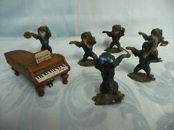 Antique Vienna Cold Painted Bronze Or Lead Six Piece Dog Orchestra Plus Piano