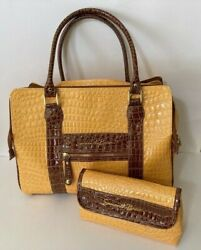 Samantha Brown Faux Leather Croc Travel Bag Large Tote Small Bag Yellow Brown $34.98