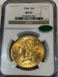 1904 20 Liberty U.s. Gold Double Eagle. Ngc Ms63 With Cac Sticker. Undd002