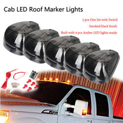 5pcs 9-led Cab Roof Running Marker Amber Lights Switch Truck Suv Off Road Smoke