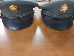 2 Vintage 1950s Us Army Caps Service Wool Dress Green Hat Size 6 5/8 And 6 7/8