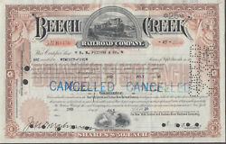 Beech Creek Railroad Pa Stock Certificate 1936 25 Shares W/ Revenue Stamps