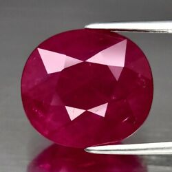 7.56ct 12.7x11.5mm Cushion Natural Purplish Red Ruby Mozambique Heated