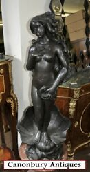 French Bronze Nude Female Rococo Clam Shell Fountain Water Feature
