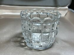 Eapg Toothpick Holder Clear Glass 3 Rows Raised Squares Scallop Rim 1 3/4x2