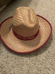 John Deere Logo Wide Brim Straw Hat With Red Band. No Flaws