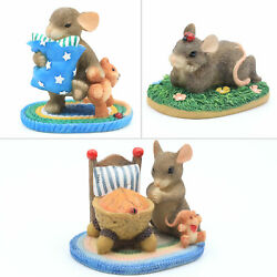 Fitz And Floyd Charming Tails Lot Of 3 Delightful Mouse Mice Character Figurines